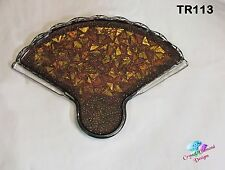 Mosaic Fan Trivet for Bedroom or Kitchen Handmade with Beads & Glass Tiles TR113