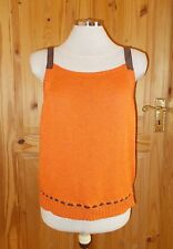 OLSEN orange knitted LINEN brown strappy camisole vest tunic top S 10-12 38-40