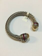 BEAUTIFUL 12MM  STERLING SILVER BANGLE WITH 18K GOLD AND RUBY STONES!!!