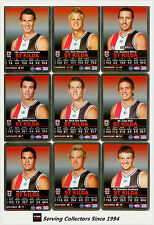 2009 AFL Teamcoach Trading Card Silver Parallel Team set St. Kilda (10)