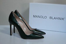New sz 7.5 / 37.5 Manolo Blahnik BB Dark Green Patent Leather Pointed Pump Shoes