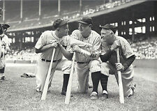 NY YANKEE GREAT BABE RUTH TY COBB AND TRI SPEAKER AT STADIUM OLD TIMERS WITH BAT
