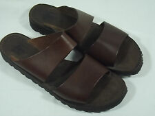 GH Bass Italy Womens 10M Brown Leather Open Toe Slides Sandals