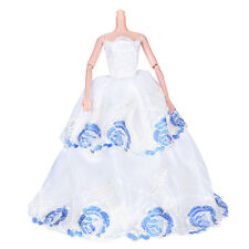 White Wedding Dress Princess Kids Toy For Barbie with Blue Flower Pattern T9I