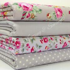 4 fat quarter tissu bundle gris argent & rose floral mix 100% coton popeline
