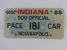Official 1988 Indianapolis 500 Pace Car License Plate Rick Mears Oldsmobile
