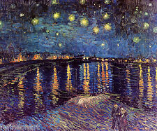 Van Gogh STARRY NIGHT OVER THE RHONE Oil Painting repro 16''x20''