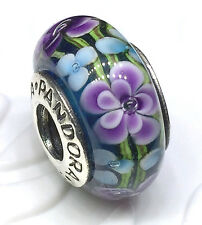 NEW Authentic Pandora 925 silver murano bead charm purple flower