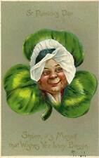 1908 ST. PATRICK'S DAY Embossed Leprechaun Tuck Sr. Irish Lady Clover postcard