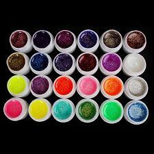 New 24 Pcs Glitter Shimmer Color UV Builder Gel for Nail Art Tips USPS Shipping