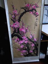 Chinese scroll painting - Pink plum flower 梅开五福