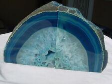BLUE AGATE/CRYSTAL GEODE BOOKENDS FOR DISPLAY L904