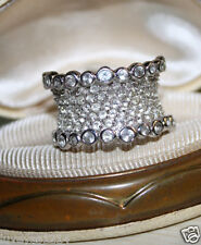 Ross Simons Sterling silver 925 pave cz cluster beveled bubble wide  ring