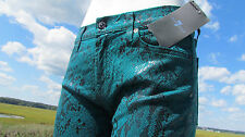 NEW 7 For All Mankind sz 31 jeans green snake skin black sexy leggings glossy