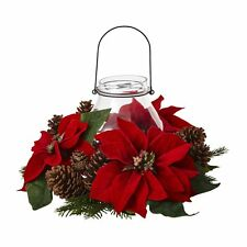Nearly Natural 4875 Poinsettia Pine and Pine Cone Candelabrum