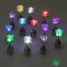 18Pcs Led Stainless Shiny Earrings (9 pair) Light Up Party Xmas Glowing Crystal
