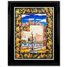 "LINNEA PERGOLA ORIGINAL OIL PAINTING SIGNED SILK FRAMED HUGE ""FALL IN NYC"" COA"