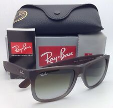 Ray-Ban Sunglasses JUSTIN RB 4165 854/7Z Rubber Brown on Grey w/ Green Fade lens