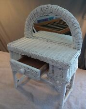"White Wicker LARGE DOLL Furniture, MIRRORED DRESSER, 18"" tall"