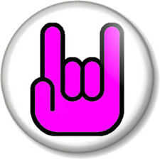 """Rock On Hand Symbol 25mm 1"""" Pin Button Badge Pink Sign of the horns heavy metal"""