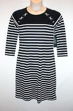 NWT MSRP $125  LAUREN RALPH LAUREN Women's Striped Knit Dress, Navy White, SMALL