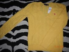 NWT Ralph Lauren Polo Women's Yellow Wool Cashmere Italian V neck sweater - M