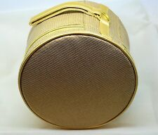 "Elizabeth Arden Gold Train Case Makeup Cosmetic Bag Round Box 8"" X 5""  New"