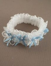 NEW Fancy flower white lace with blue ribbon and pearl bow wedding bride garter