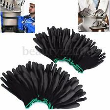 12 Pairs Black PU Safety Work Glove Antistatic Protect Palm Coated Gloves S M L