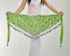 New Sexy Belly Dance Costume Hip Scarf Belt Velvet & Silver Coin 11 colours