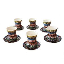 Turkish Arabic Greek Moroccan Design Handmade Ceramic 6 Tea Cup + Saucer Set H1