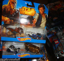 HOT WHEELS 2 PACKS- STAR WARS CHEWBACCA AND HAN SOLO, R2D2 & C3PO.  NEVER OPENED