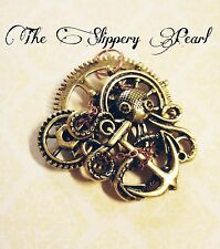 Large Steampunk Octopus Pendant Gear Pendant Anchor Kraken Pendant Gold