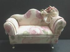 Dollhouse Furniture Pink Flower Cloth Sofa Chair(Monster High/Barbie Doll/etc)