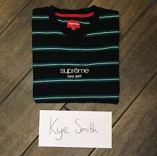 Supreme Striped Classic Logo Long Sleeve Tee Teal Navy L
