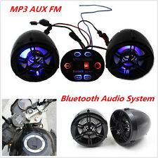 12V Motorcycle Handlebar FM Bluetooth Audio Radio System Stereo Speaker MP3/AUX