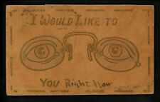Optical Eye Postcard Leather I would Like to See You Eyes Glasses Frackville PA