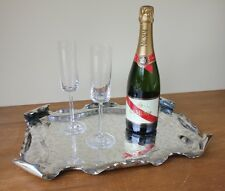 Arts & Crafts Silver Plated Cocktail Tray / Platter by Townshend Acanthus Gongs