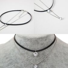 Womens Double Layer Black Velvet Collar Choker Cord Necklace with Crystal Charm