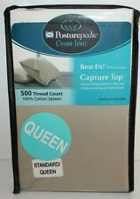 SEALY POSTUREPEDIC CROWN JEWEL STANDARD/QUEEN  2 PILLOWCASES GREEN 500TC
