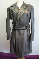 "Vintage WW2 officiers allemands horsehide leather coat taille 40"" - 42"""