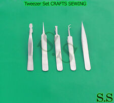 5 Pc. Tweezer Set CRAFTS SEWING STAMPS JEWELRY Lapidary Sewing Stamps