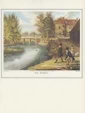 "1974 Vintage FLY FISHING ""ON THE RIVER LEA"" TOTTENHAM COLOR Art Print Lithograph"