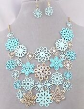 Blue Green Flower Bib Necklace Earrings Set Set Gold Fashion Jewelry NEW