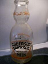 Rare WWII 1943 Anderson Erickson Round Creamer Quart Milk Bottle