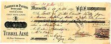 FRANCE BILLET à ORDRE MANDAT MARSEILLE 1899 LYON avec TIMBRE TURREL AINé