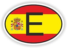 OVAL SPANISH FLAG WITH E COUNTRY CODE STICKER SPAIN AUTO MOTO TRUCK LAPTOP