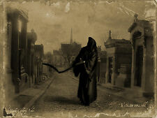 A3 Vintage Style Poster - Grim Reaper Walking the Streets (Gothic Picture Death)