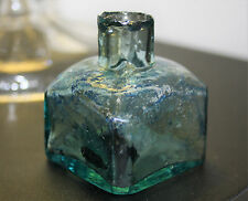 Victorian Blue Glass Square Ink Bottle c.1890's