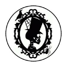 """48 SKULL CAMEO HALLOWEEN ENVELOPE SEALS LABELS STICKERS 1.2"""" ROUND"""